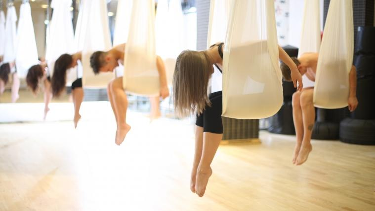 aerial yoga at Float Fitness